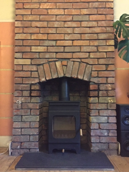 wood burning stove, chimney breast, log burner