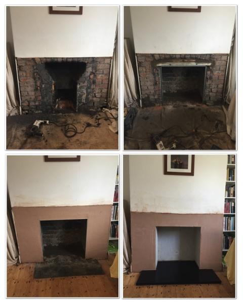 Fireplace opening, slate hearth, stove installation