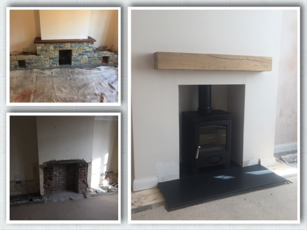 Wood burning stove, honed granite, fireplace opening, multifuel stove