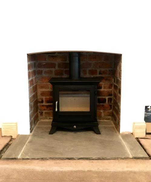 Brick fireplace opening, wood burner installation, wood burning stove