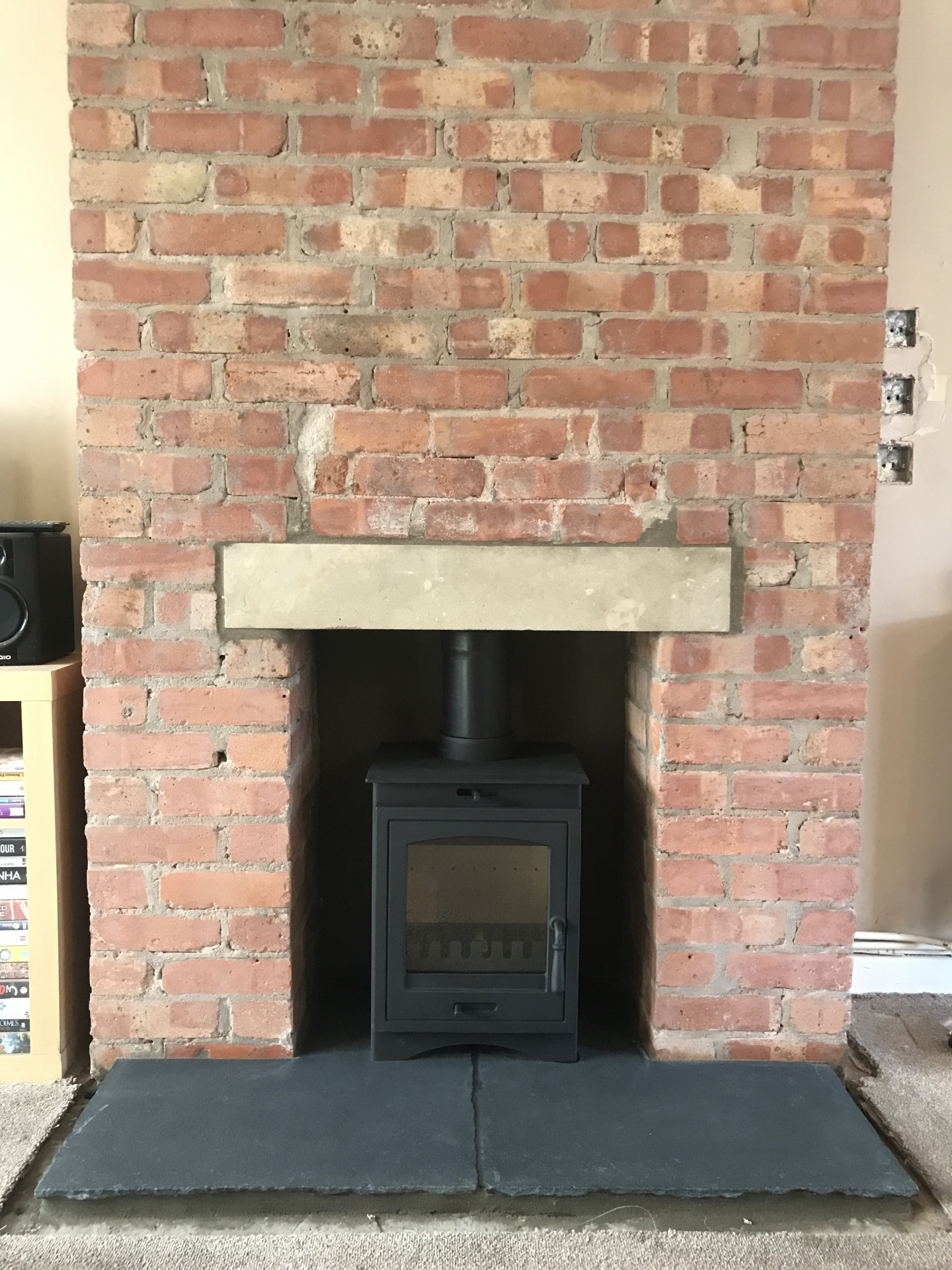 Natural slate hearth, multi fuel stove