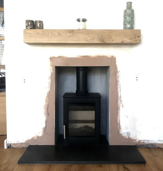 Oak beam, wood burning stove Bristol, solve installation Bristol