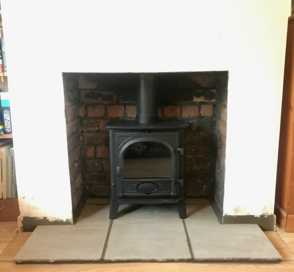 Stone hearth, wood burning stove installation Bristol