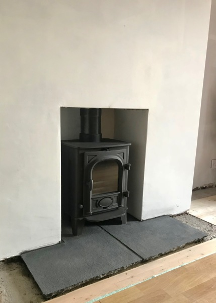 multifuel stove installation, stone hearth, fireplace installation