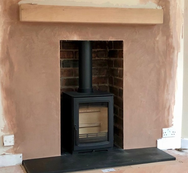 Oak beam, log burner installation bristol, wood burning stove