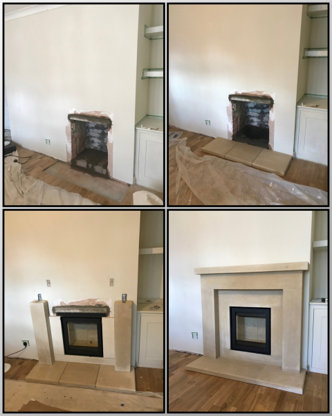 Custom fireplace and inset stove installation