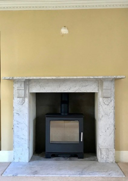 Multifuel stove, marble fireplace, wood burner