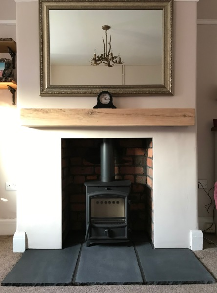 Floating oak beam, solid beam mantle, fireplace installation bristol