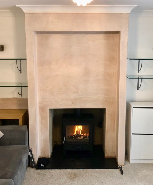Large fireplace, slate hearth, stove installation bristol