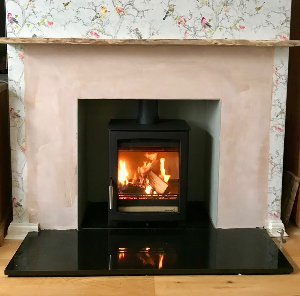 Log burner, installation bristol, granite hearth, wood burning stove
