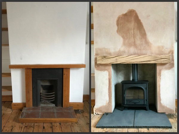 rustic oak beam, woodburning stove, wood burner installation bristol